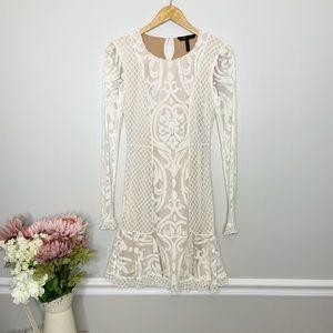 BCBG MAXAZRIA long sleeve white lace dress
